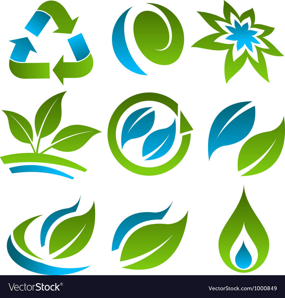 Green and blue energy saving icons vector