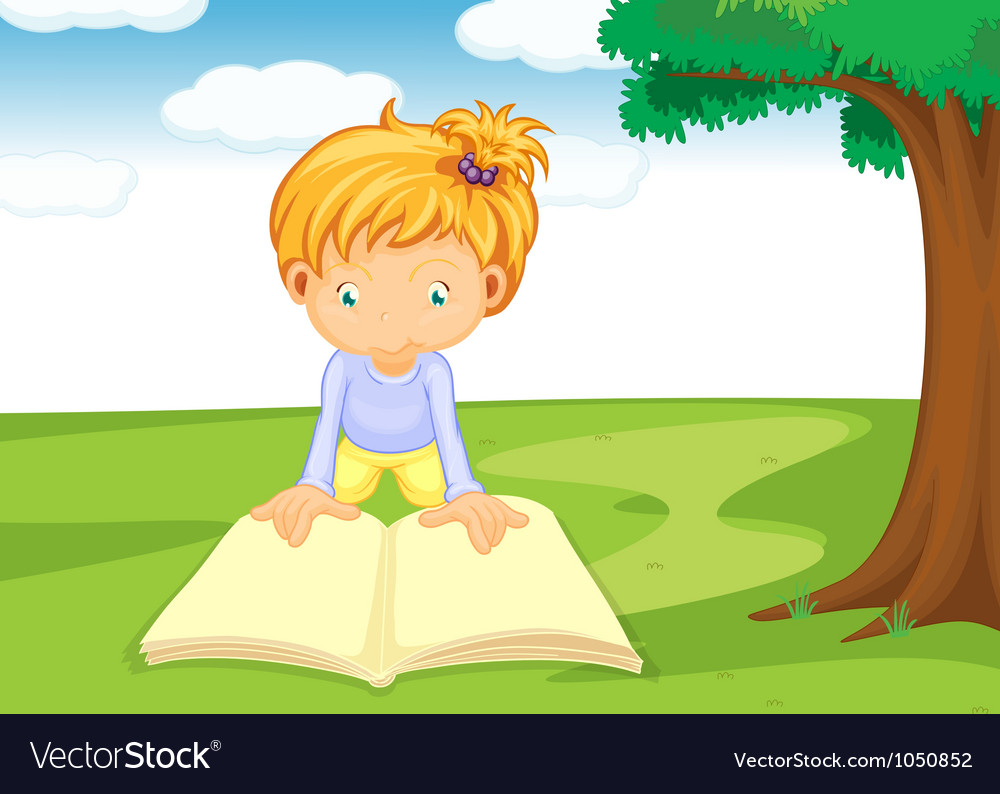 A girl reading book vector