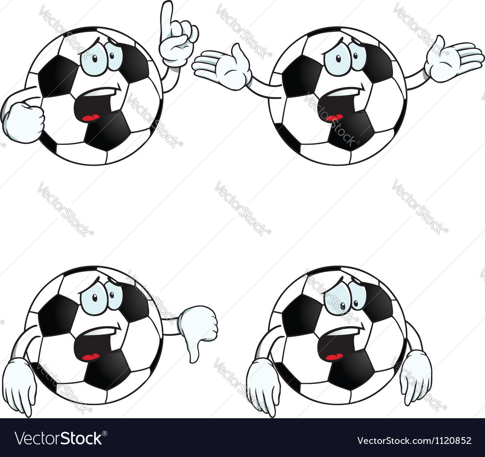 Crying cartoon football set vector