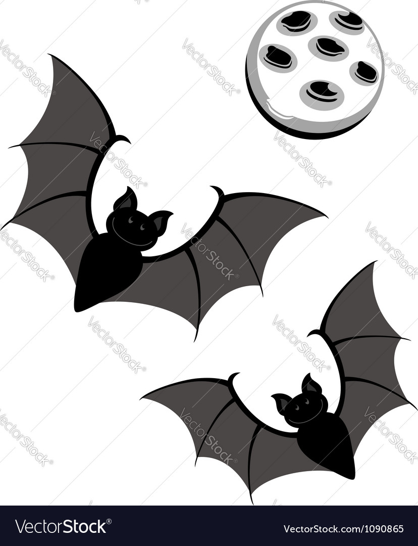 Flying bats with moon vector