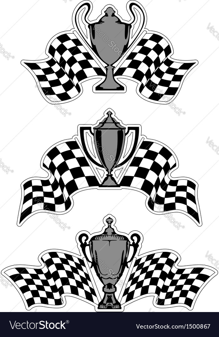 Racing sport awards and trophies vector