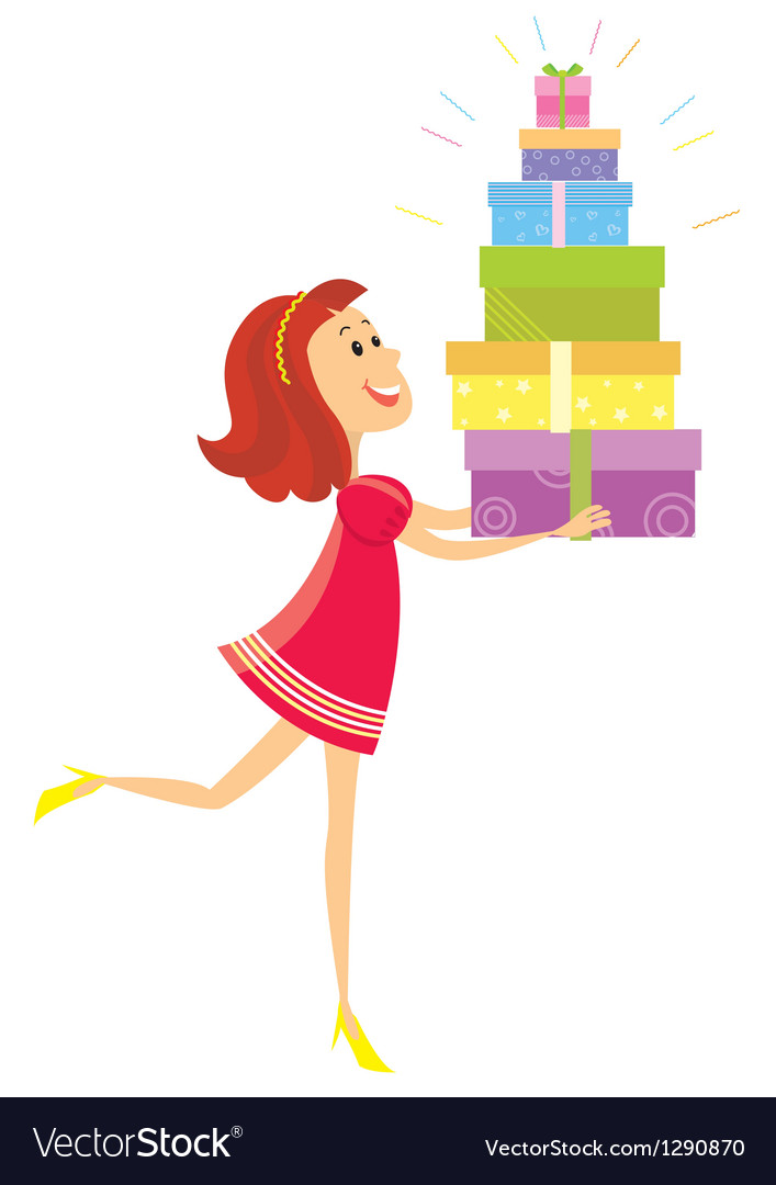 Girl and presents vector