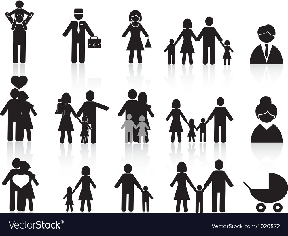 Black happy family icons set vector