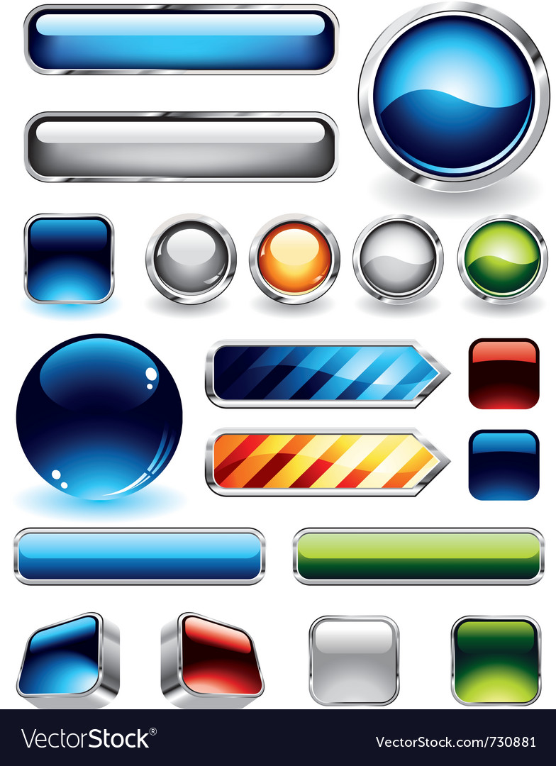 Glossy buttons set vector