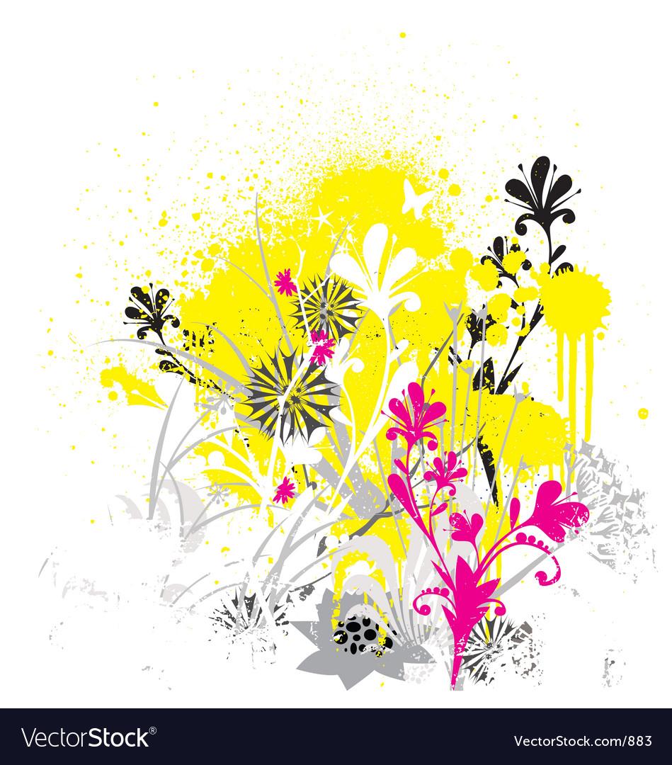 Free grunge flowers vector