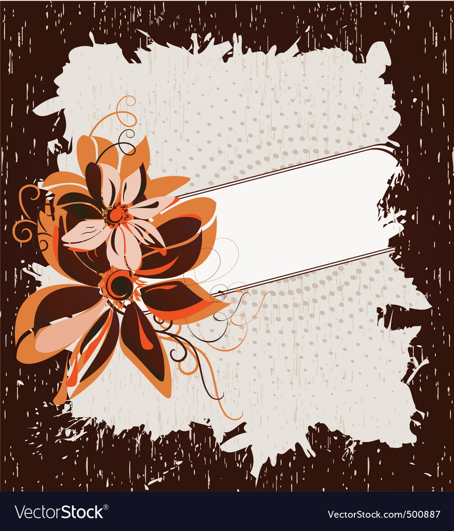 Grunge frame with flowers vector
