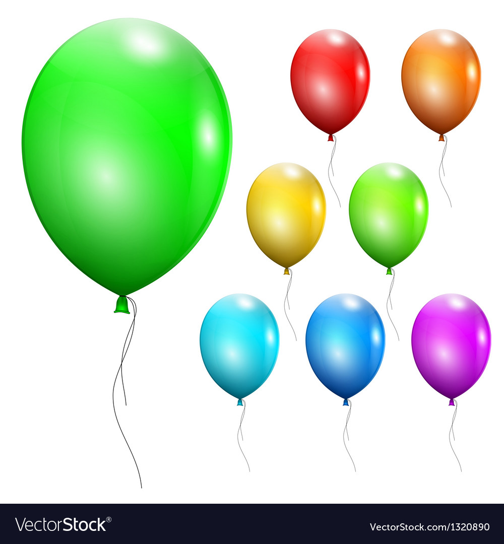 Set of multicolored balloons vector