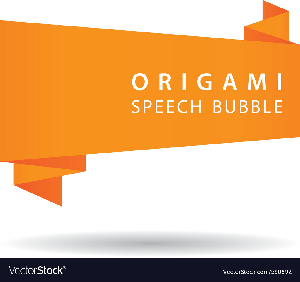 Orange origami speech bubble vector