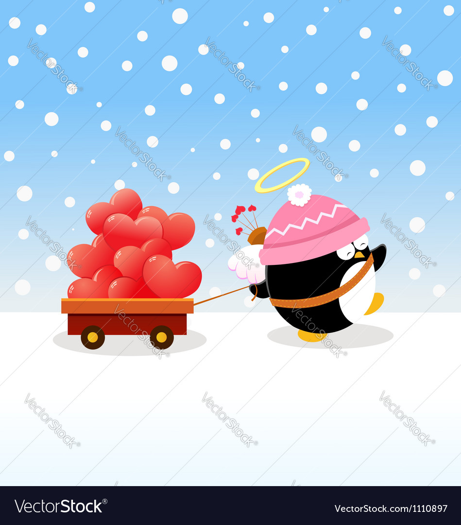 Cupid penguin delivering love vector