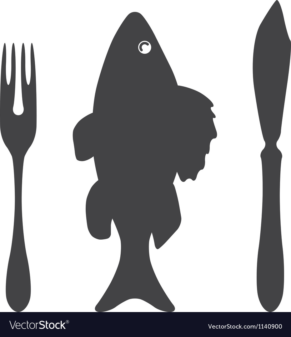 Cutlery knife fork fish - vector