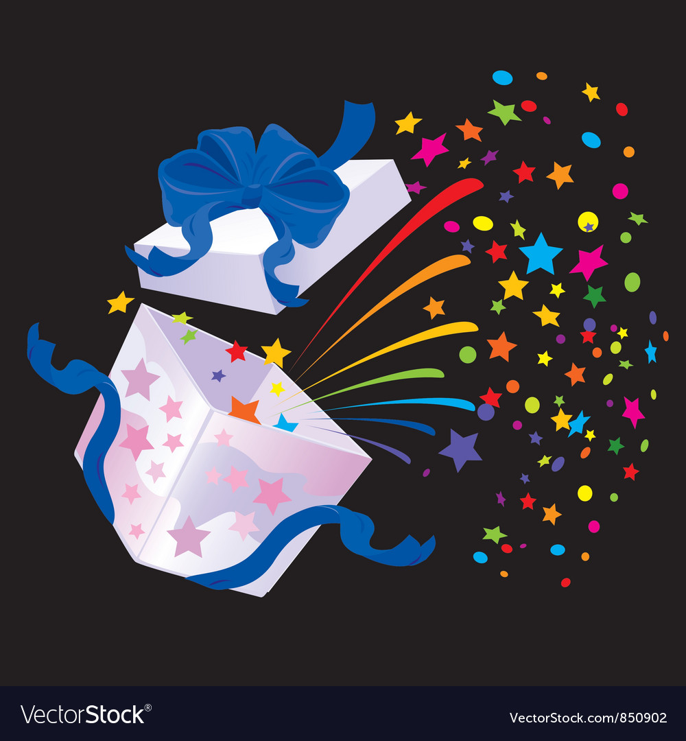 Open gift box with rainbow colors confetti booming vector