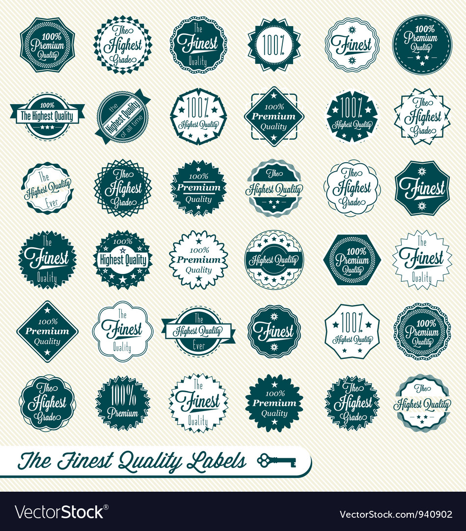 Set of finest quality labels vector