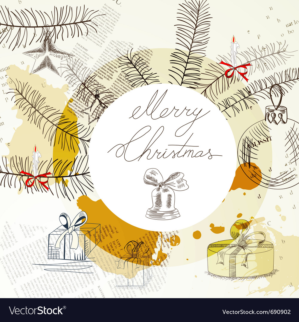 Template for stylized christmas card vector