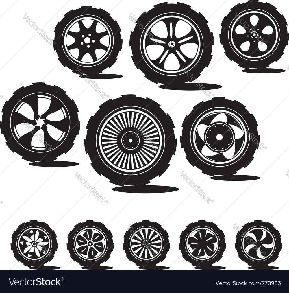 Alloy wheels and tires vector