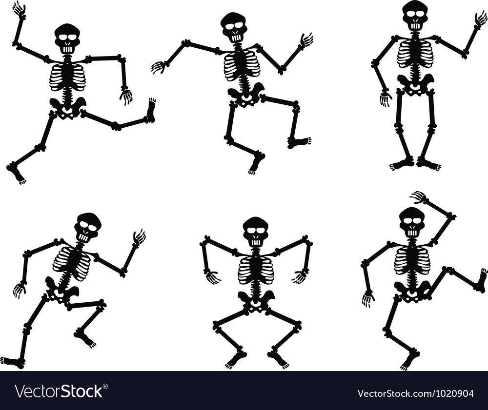 Skeletons dancing vector