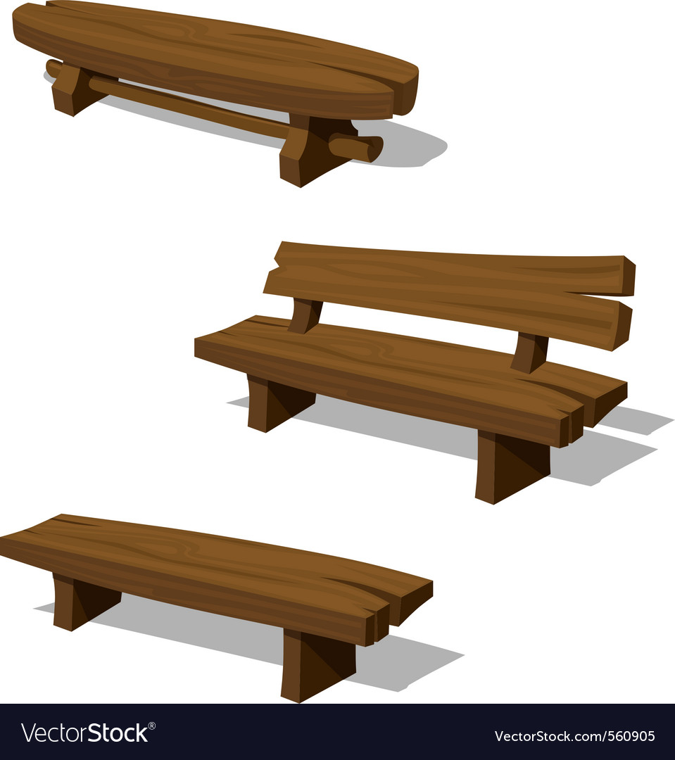 Wooden benches vector art - Download Benches vectors
