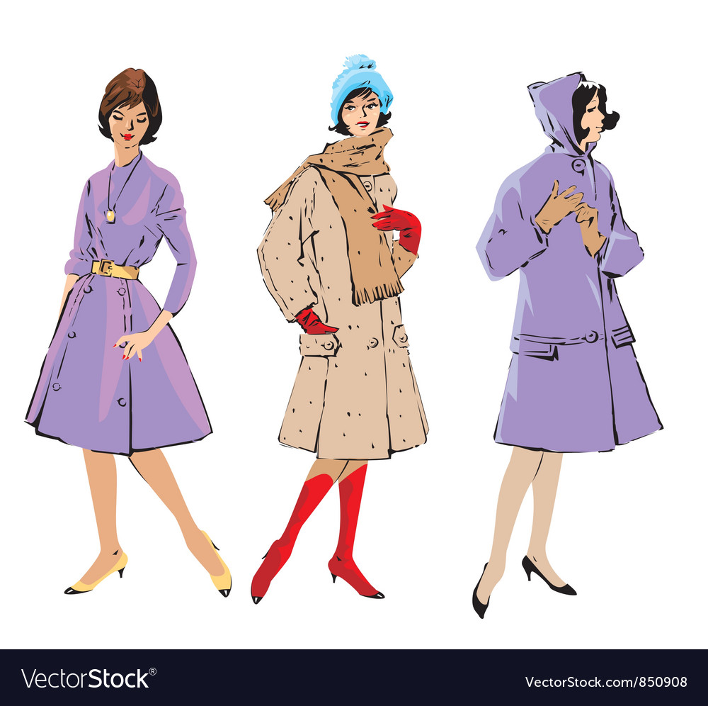 Set of elegant women  retro style fashion models vector