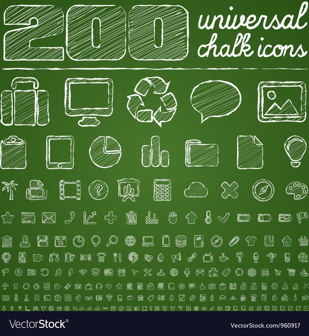200 universal icons vector