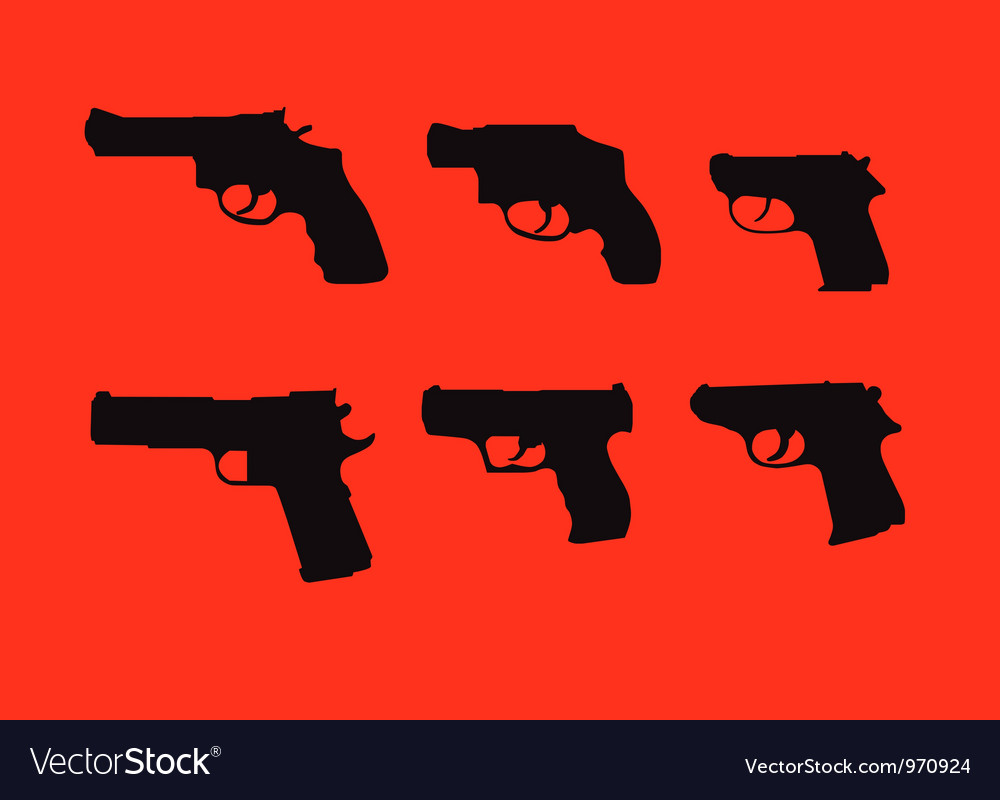 Hand guns silhouettes vector