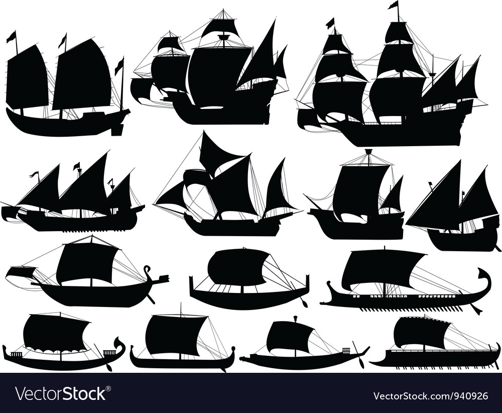 Ancient sail boats vector
