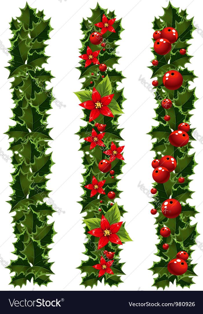 Green christmas garlands vector