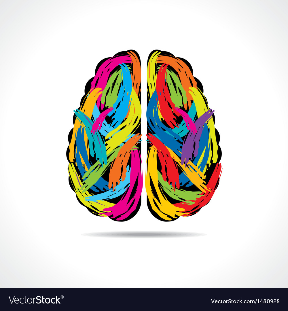 Creative brain with paint strokes vector