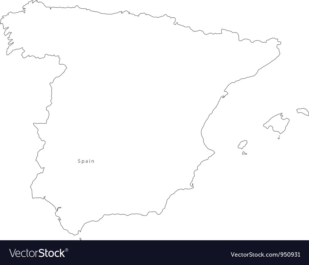 Black white spain outline map vector