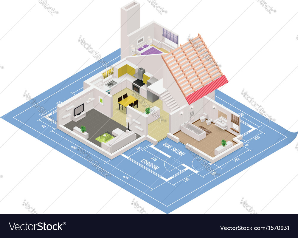 Isometric house cutaway icon vector