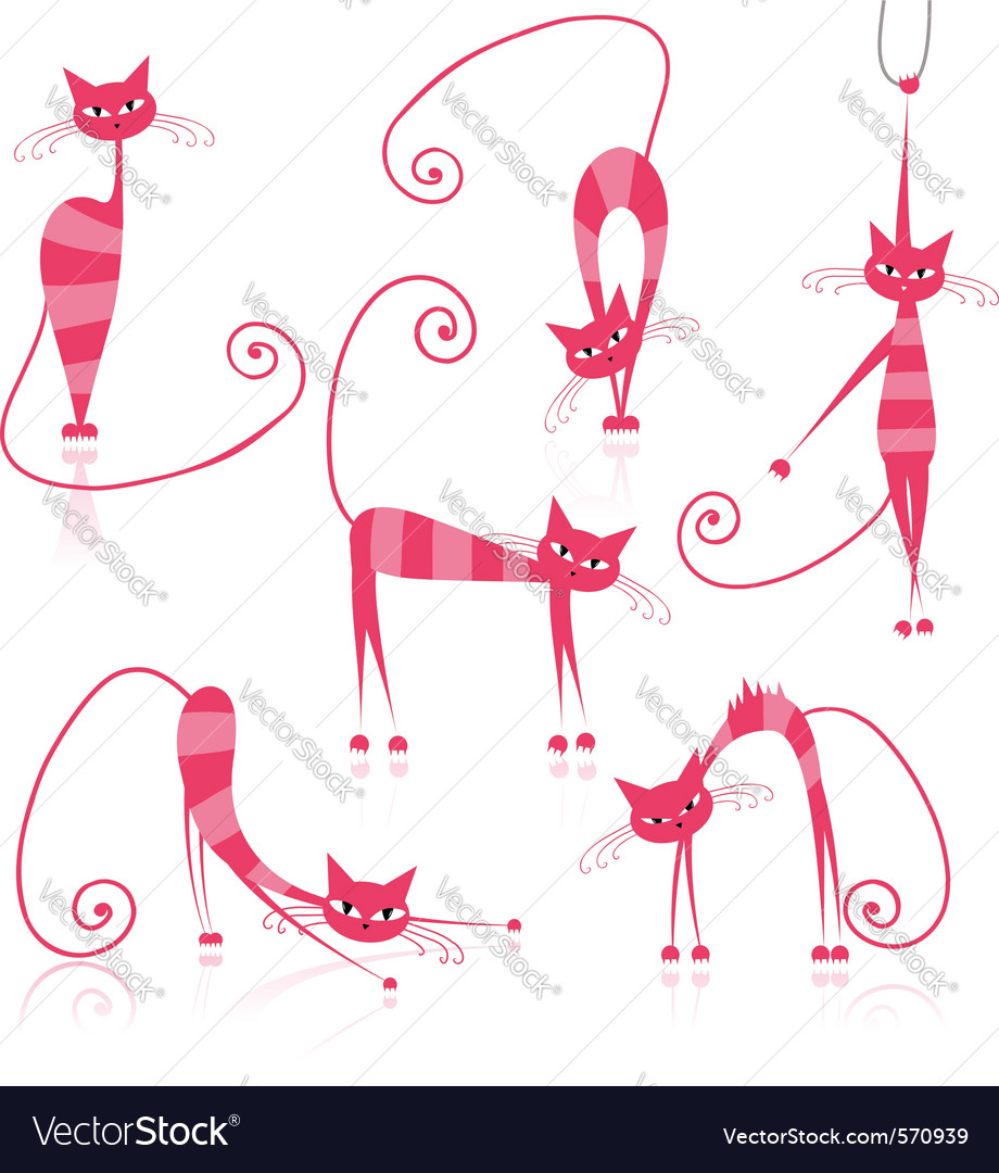 Cartoon striped cats vector
