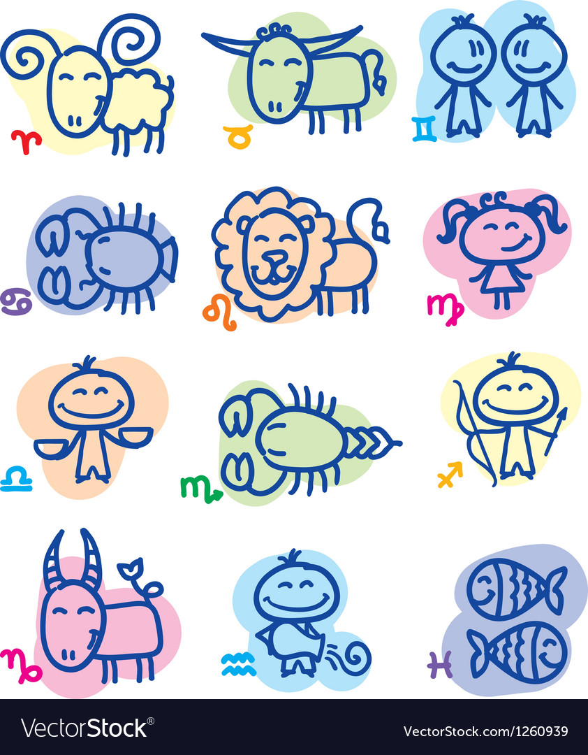 Hand drawn zodiac signs vector