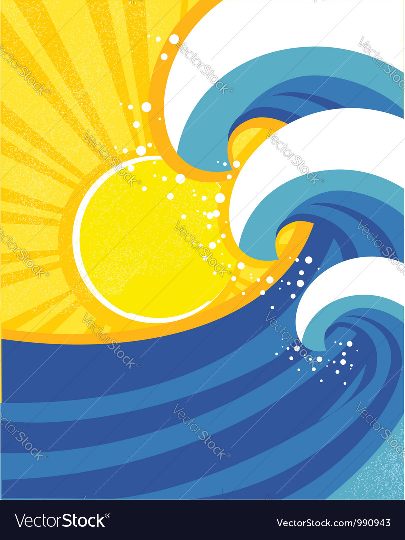Sea waves poster of sea landscape vector