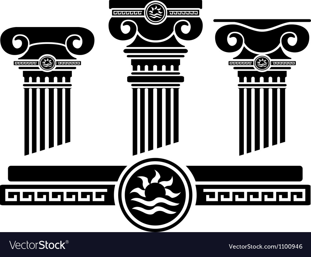 Ionic columns and pattern stencil vector