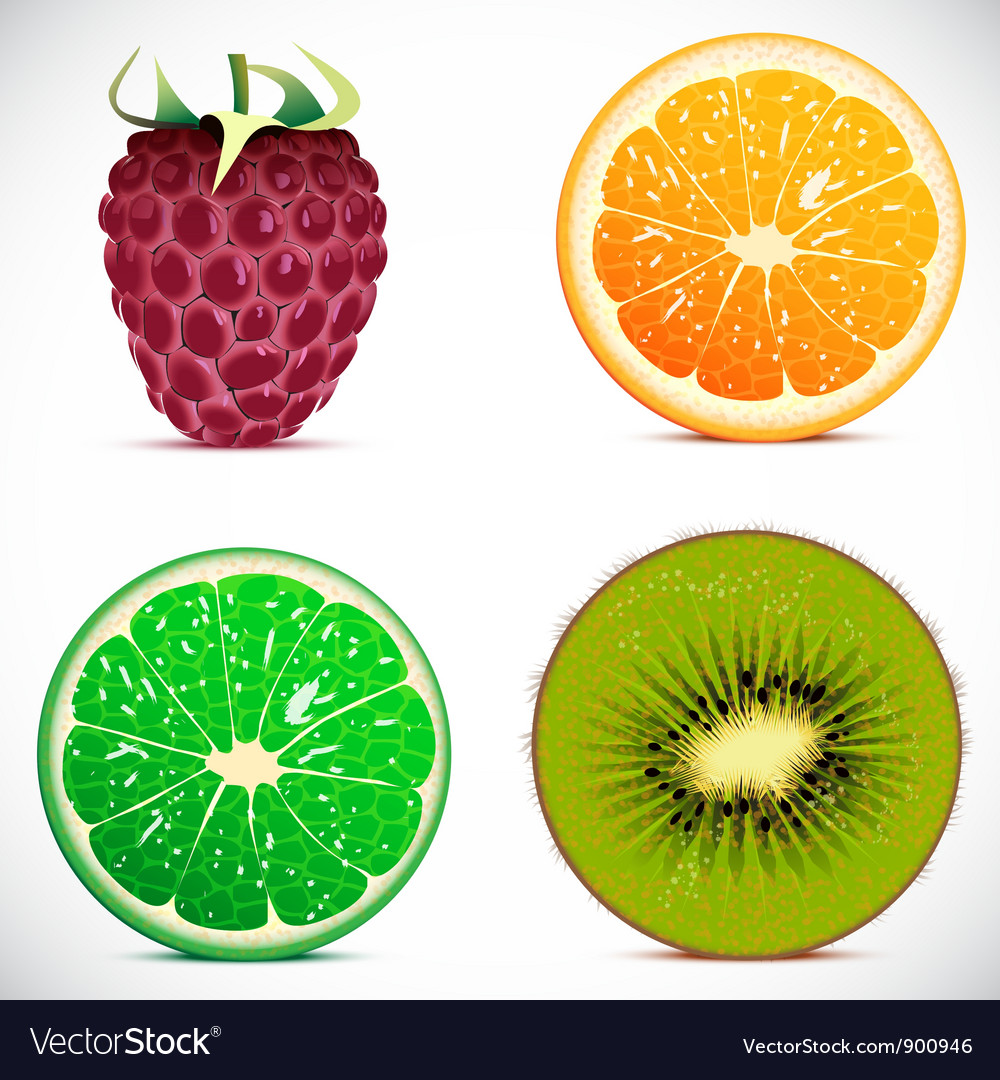 Set of fruits icons vector
