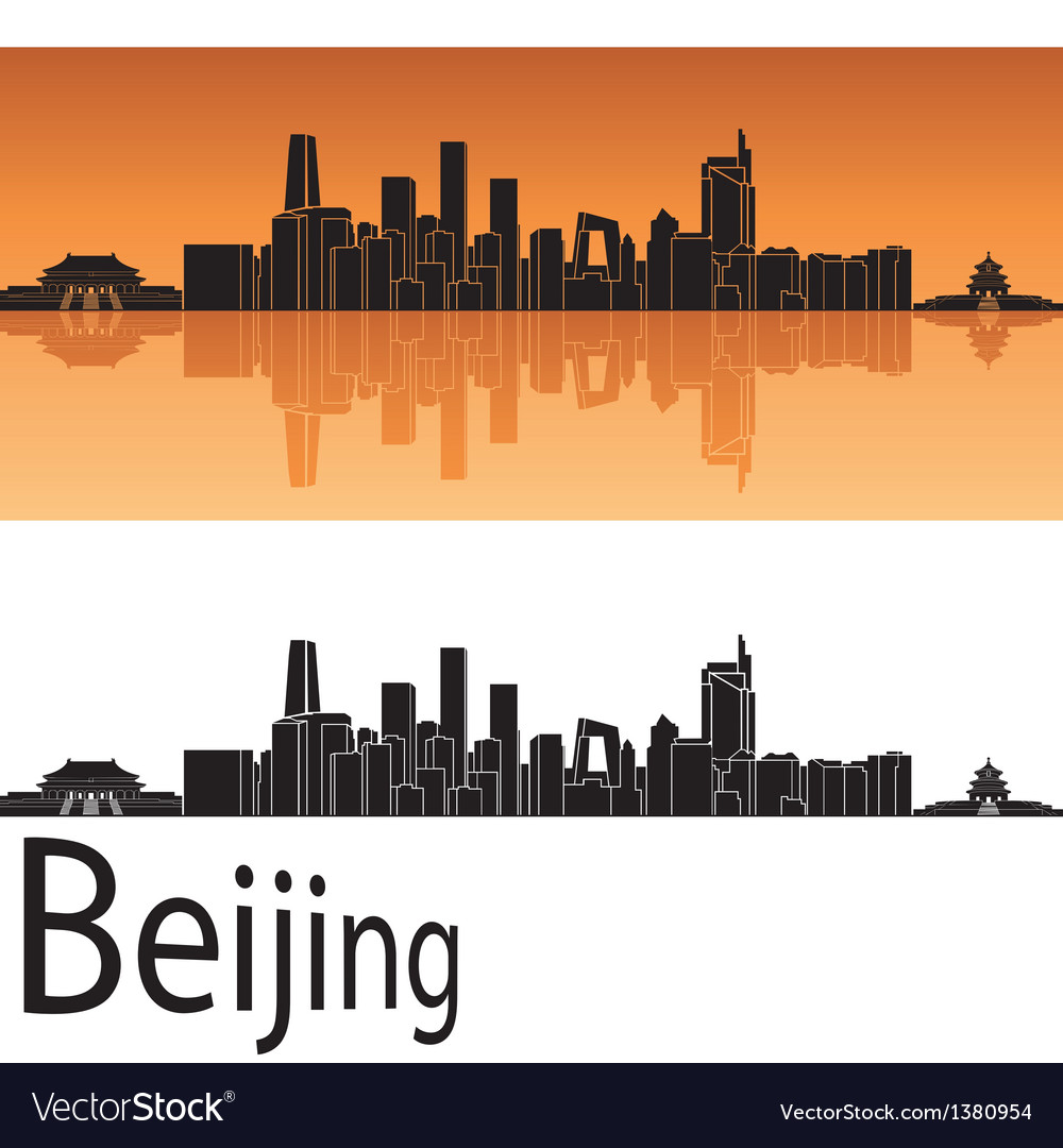 Beijing skyline in orange background vector