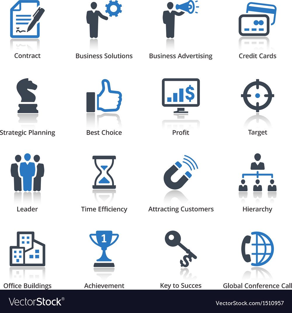 Business icons set 2  blue series vector