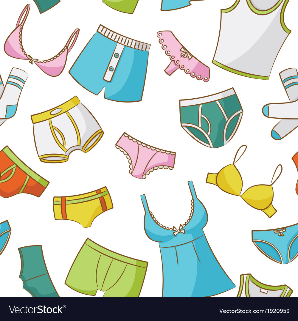 Female and male underwear doodle seamless pattern vector