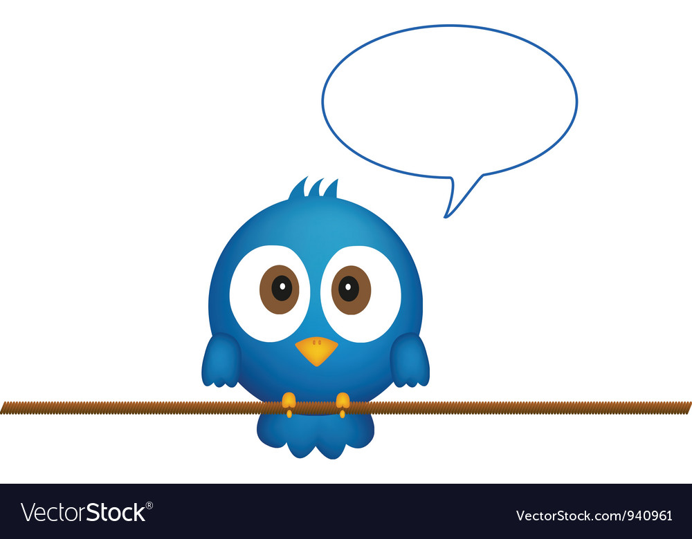 Blue bird sitting on rope vector