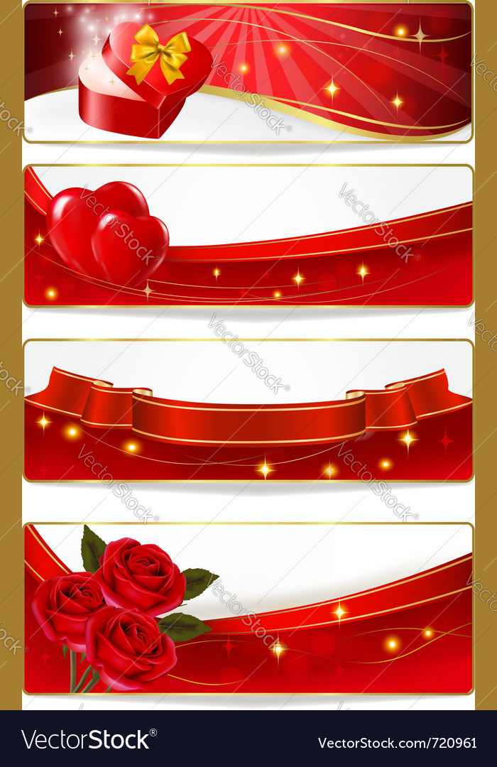 Collection of colorful of valentine banners vector