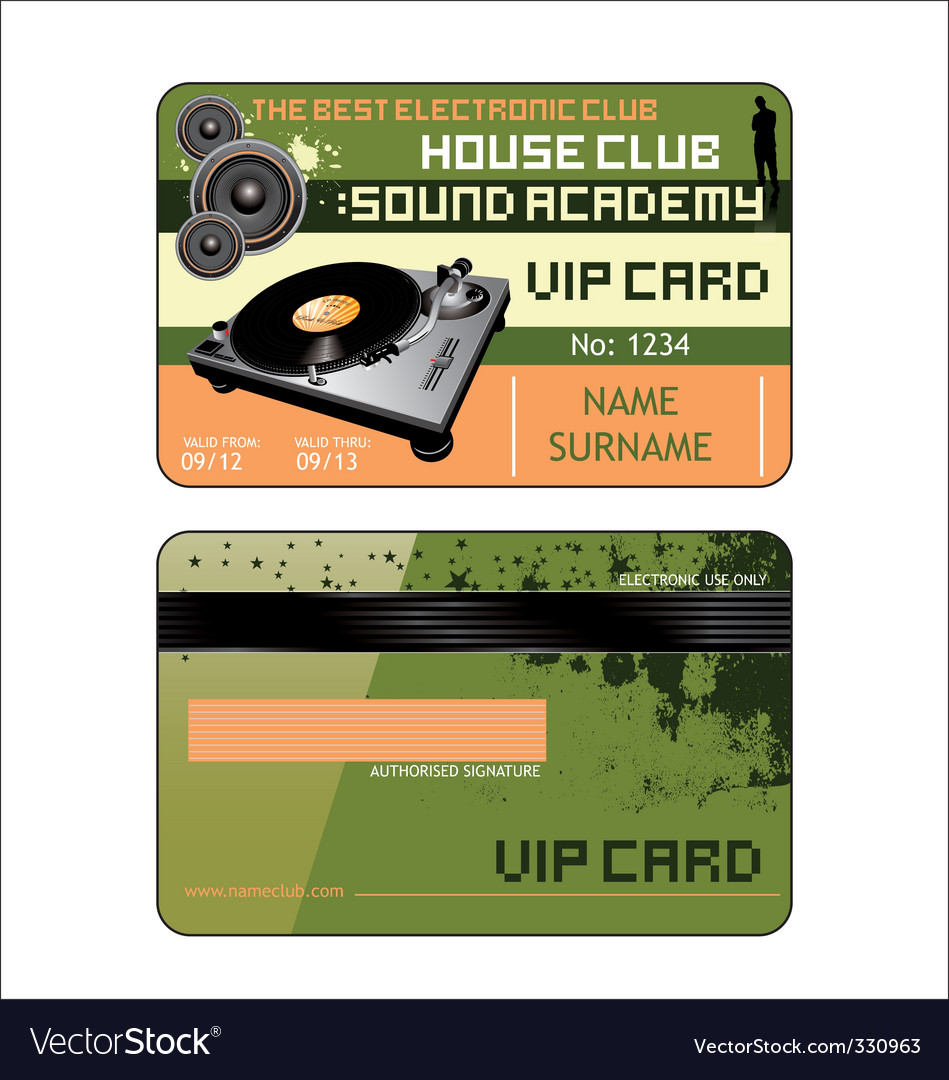 Vip house club card vector