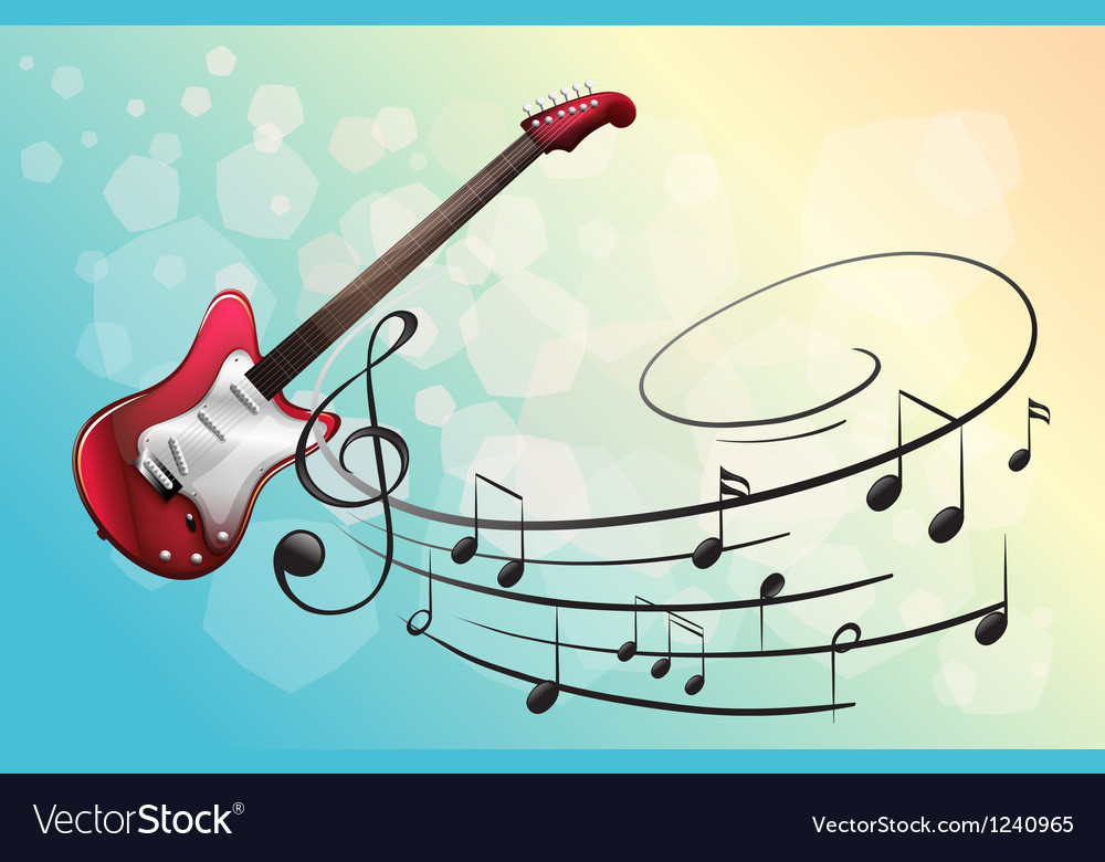 A red electric guitar with musical notes vector