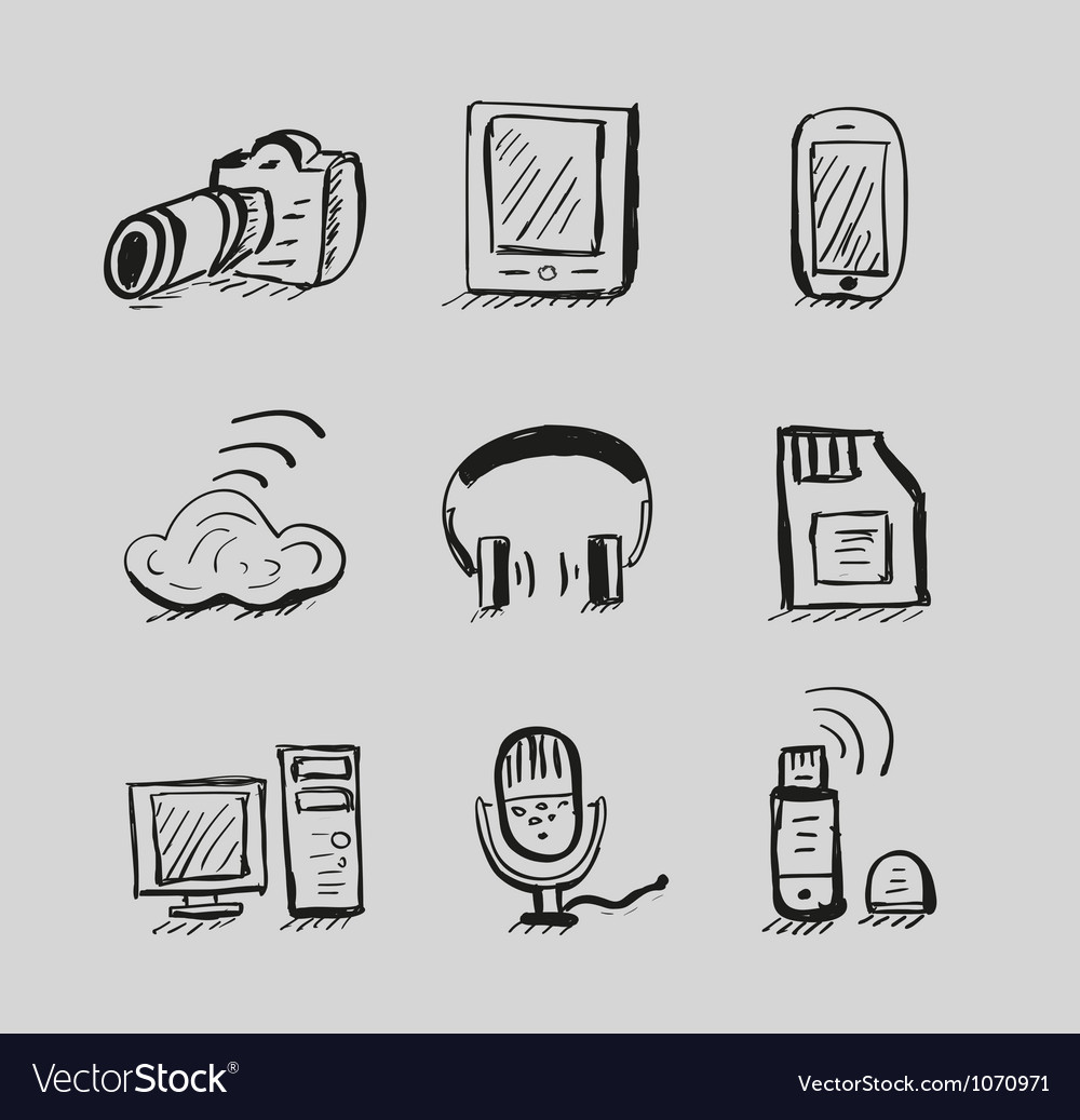 Hand drawn mobile devices black icon set vector