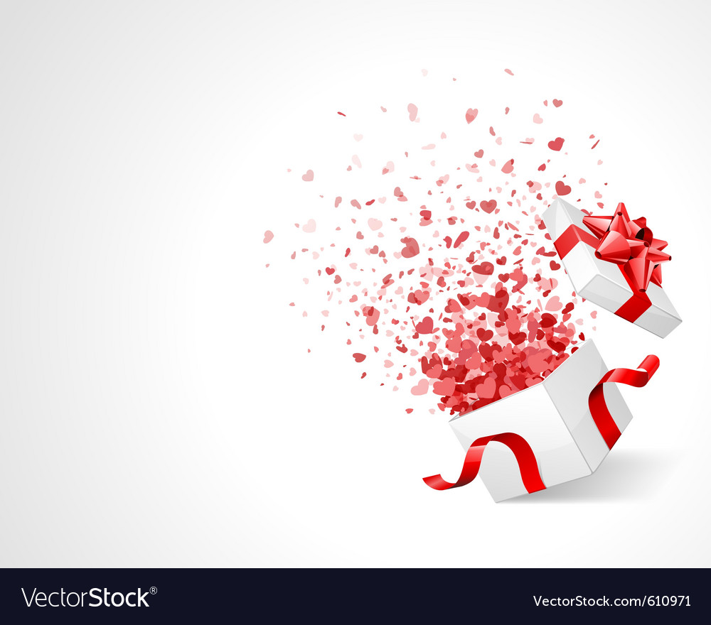 Open gift with fireworks from heart confetti vector