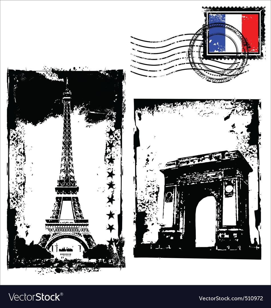 Paris in grunge frame vector