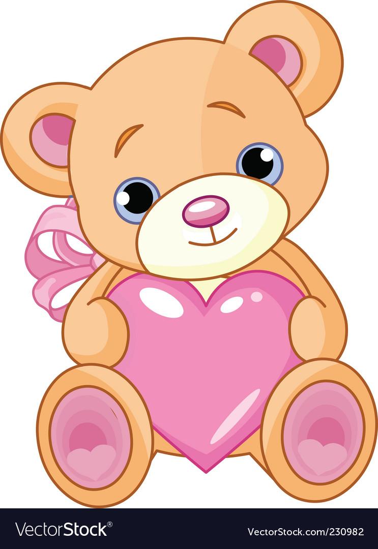 Bear with heart vector