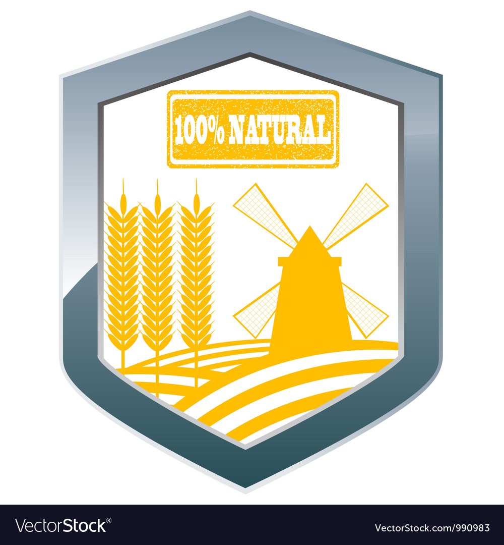 Silve shield with whole grain cereal products vector