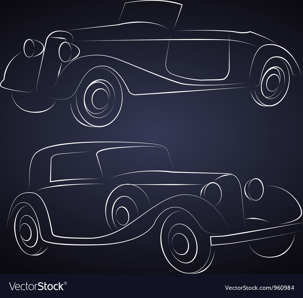 Retro car silhouettes vector