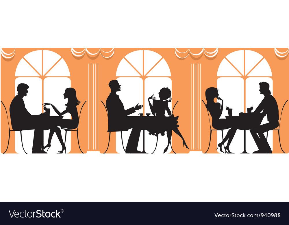 At restaurant vector