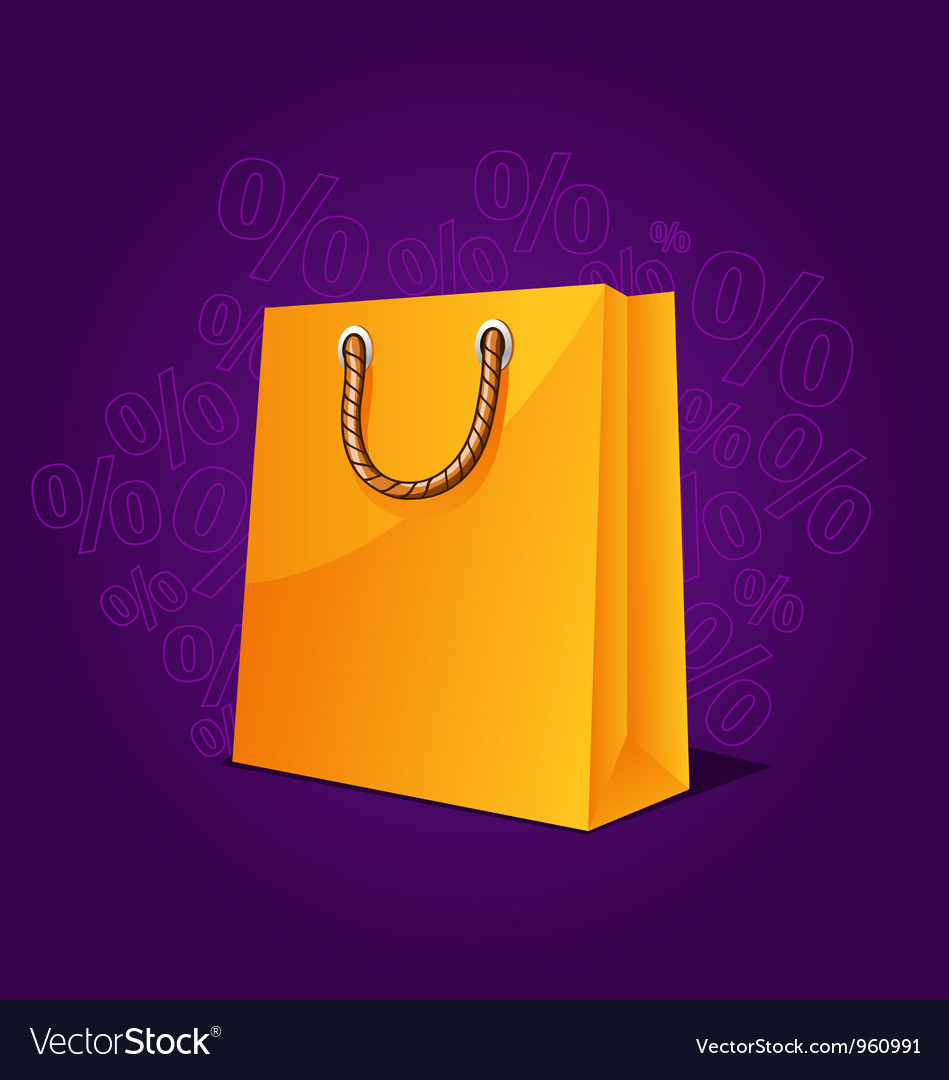 Free shopping paper bag empty sale vector