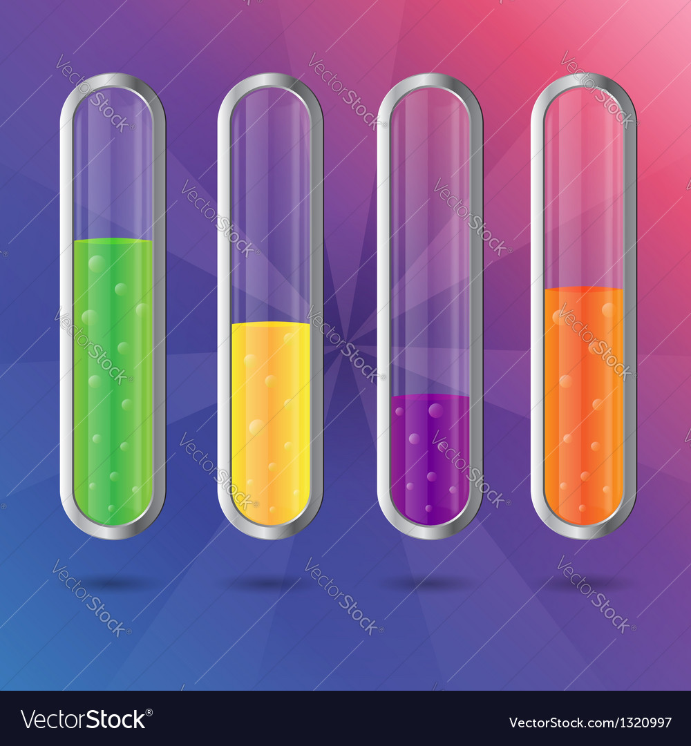 Colorful transparent glass flasks with liquid vector