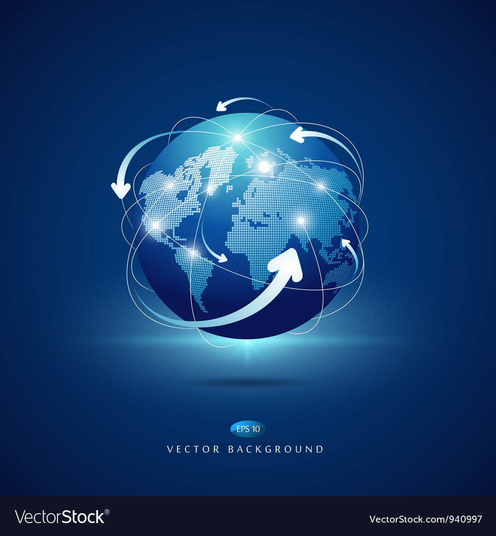 Modern globe connections network design vector